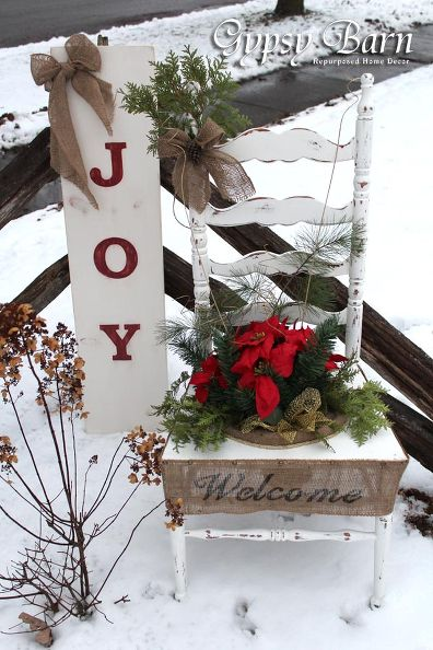 Repurposed Chair Christmas Planter