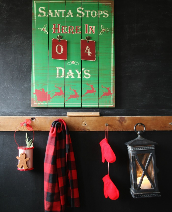 Christmas countdown sign with DIY Christmas can hanging mittens and candle lantern | Share your Christmas traditions at KnickofTime.net