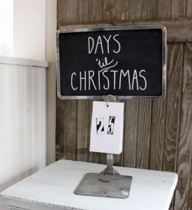 Christmas countdown - repurposed store display stand
