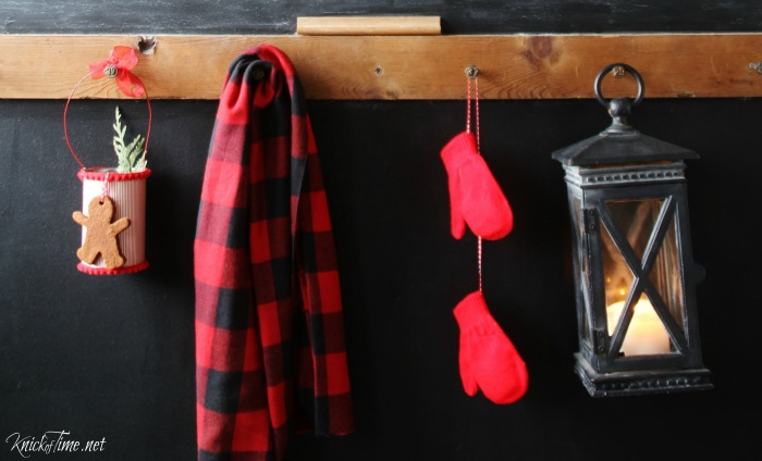 Buffalo check scarf, mittens and candle lantern in Christmas entrayway - KnickofTime.net