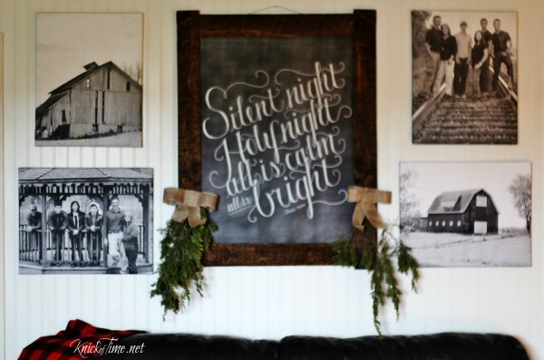 Christmas gallery wall with family photos and red barn photos - KnickofTime.net