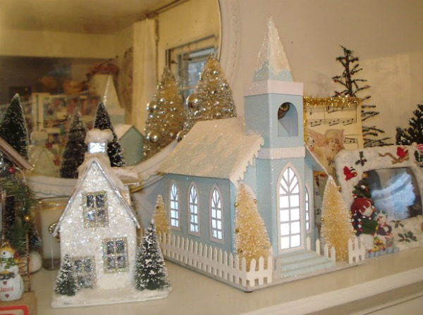 Christmas village featured at the Vintage Inspiration Party at MySalvagedTreasures.com