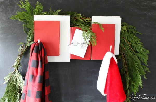 DIY Repurposed Books Santa Claus Christmas Coat Rack - KnickofTime.net