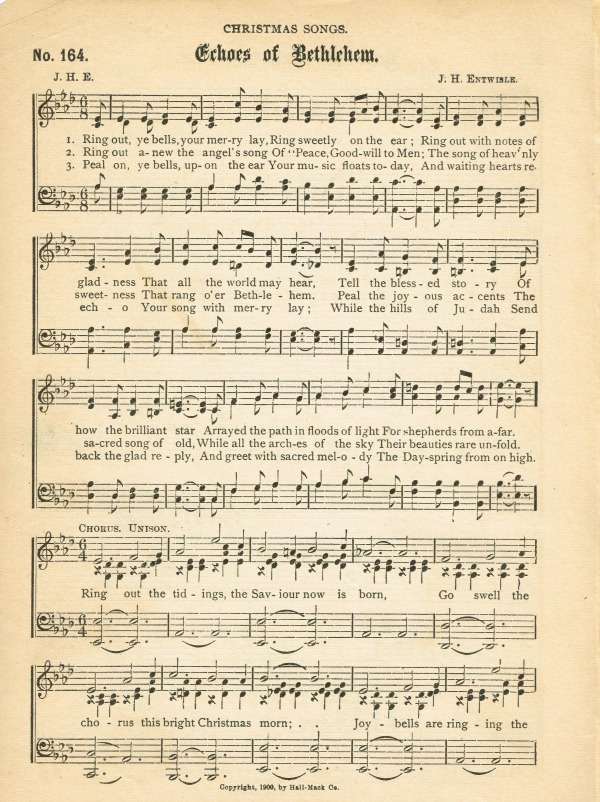 Free Antique Christmas Sheet Music Echos Of Bethlehem Knickoftime Net Printables