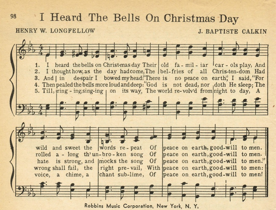 I Heard the Bells on Christmas Day hymn book printable - KnickofTime.net