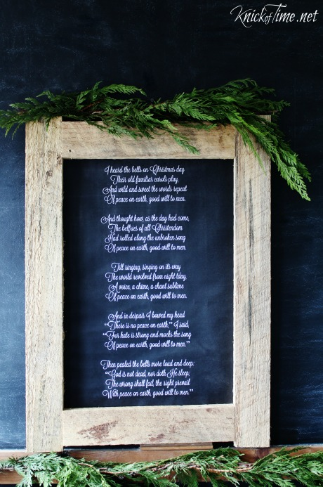 Free chalkboard Christmas poster size engineering print in a rustsic wooden frame - KnickofTime.net