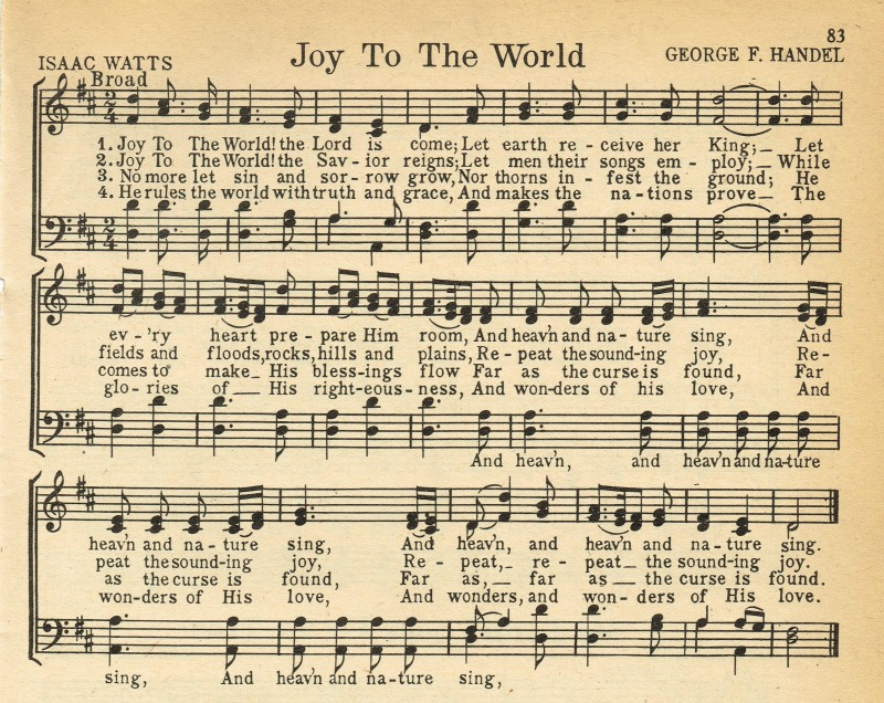 Joy To the World Christmas music printables - KnickofTime.net