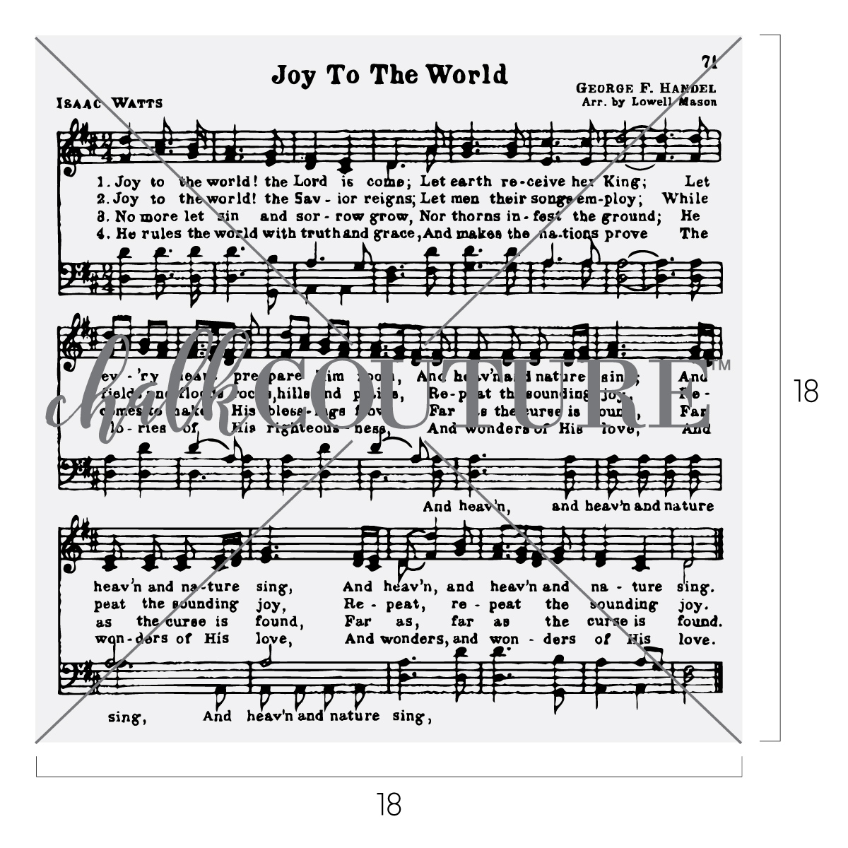 Chalk Couture Joy to the World Hymn adhesive stencil transfer