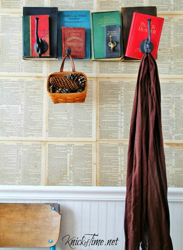Turn old books into an awesome, unique coat rack with just a few basic supplies. Tutorial at Knick of Time - KnickofTime.net