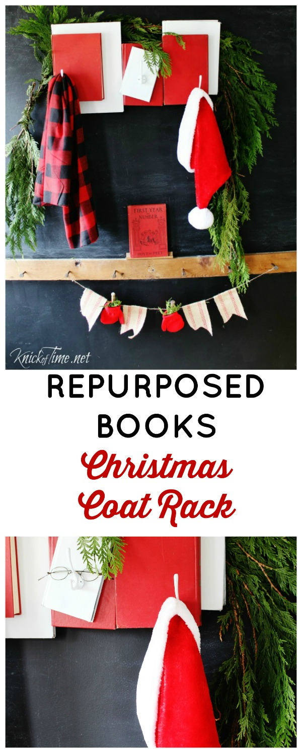 Santa Claus repurposed books Christmas coat rack - Knick of Time