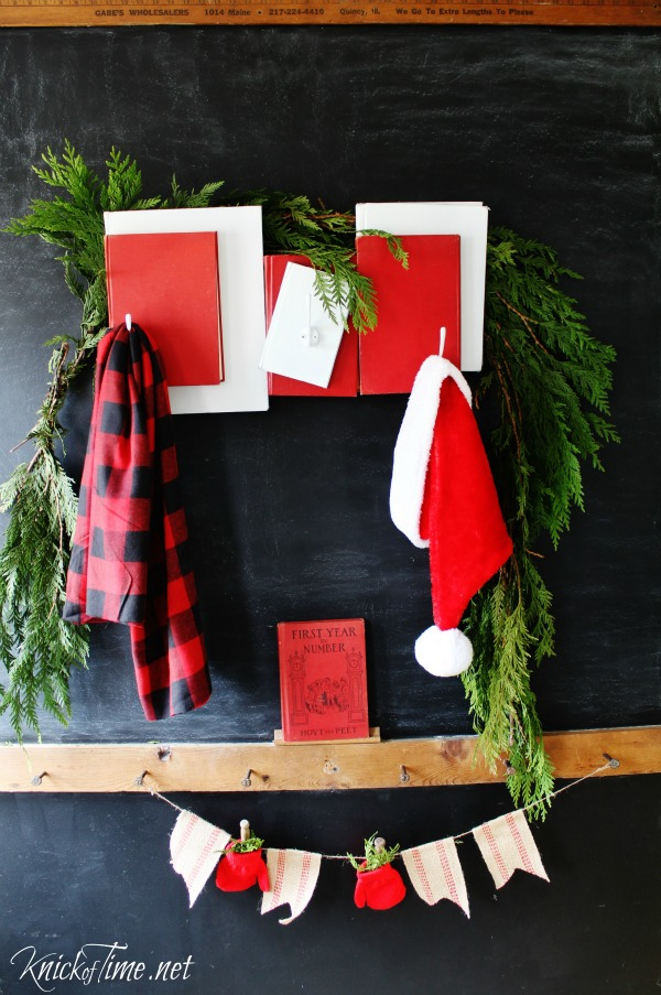 Repurposed books are used to create a fun and festive Santa Claus inspired Christmas Coat Rack - Tutorial at KnickofTime.net