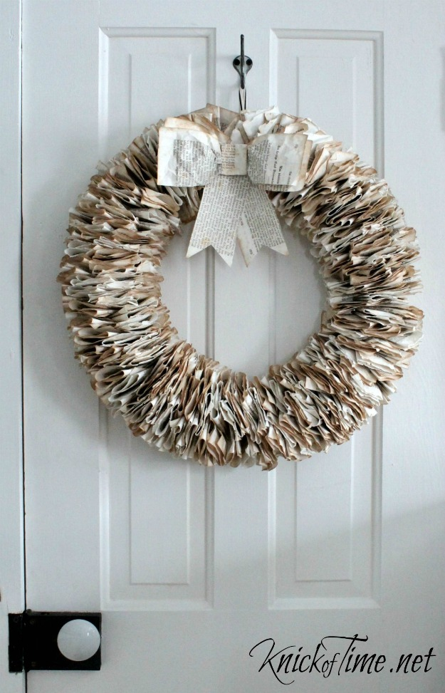 Create a gorgeous wreath out of repurposed book pages! Tutorial at KnickofTime.net