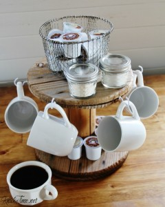 Turn a wooden cable spool into an organized and clutter free coffee station! - KnickofTime.net