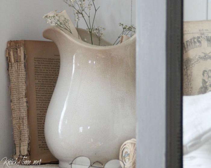 farmhouse photos antique book, eyeglasses, ironstone pitcher