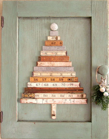 Turn an old folding ruler into a funky junk style Christmas tree