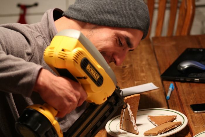 gingerbread house with nail gun