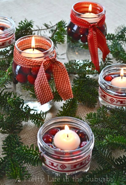 gingham Christmas candles