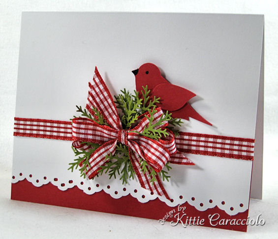 gingham ribbon Christmas card