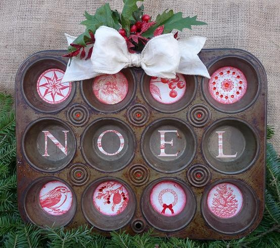 Repurposed muffin tin Christmas Sign