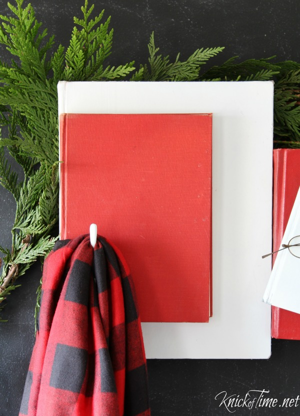 Recycle old books into a unique coat rack for the holidays - Tutorial at KnickofTime.net
