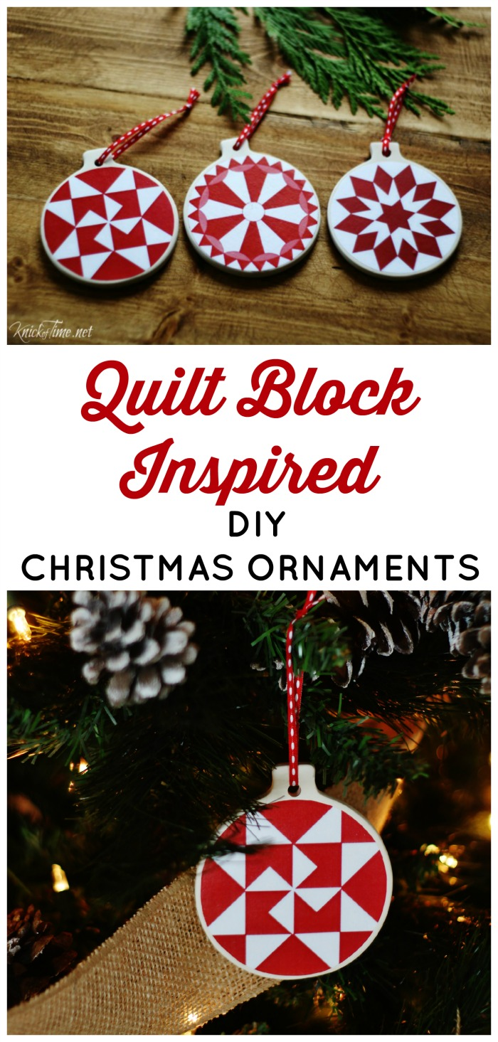 Knick of Time| Quilt Block Inspired DIY Christmas Ornaments | http://www.knickoftime.net