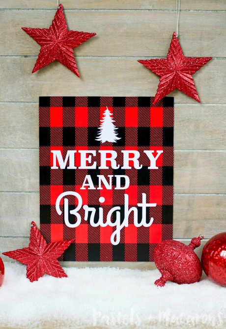 plaid Merry and Bright Christmas printable