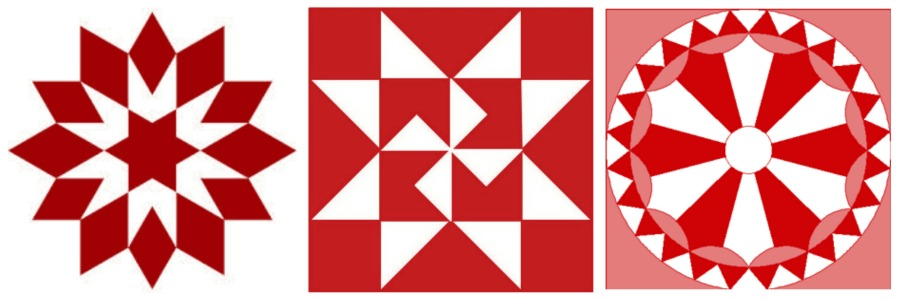 red quilt block Christmas ornment designs - KnickofTime.net