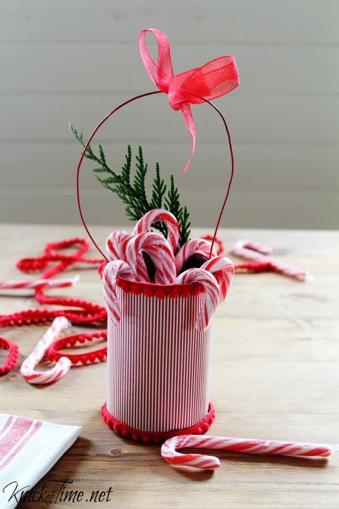 Christmas tin cans teacher gift or hostess gift - KnickofTime.net