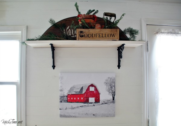 old red barn canvas print for kitchen Christmas wall decor - KnickofTime.net