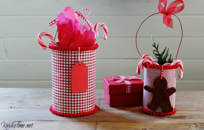 red gingham and pin stripe cans with pom pom trim