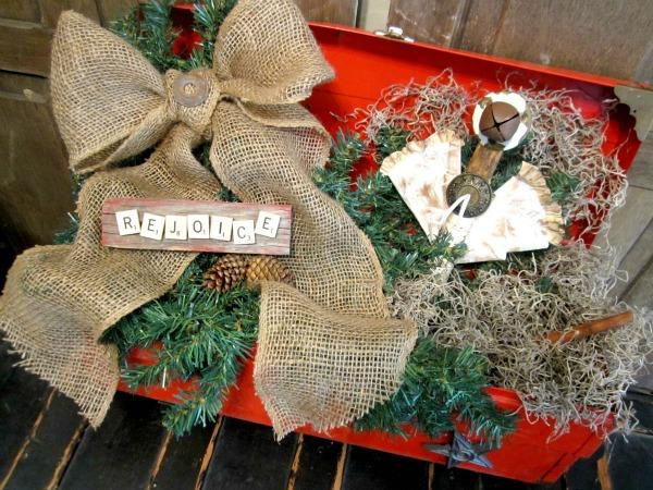 Repurposed tool box Christmas decor