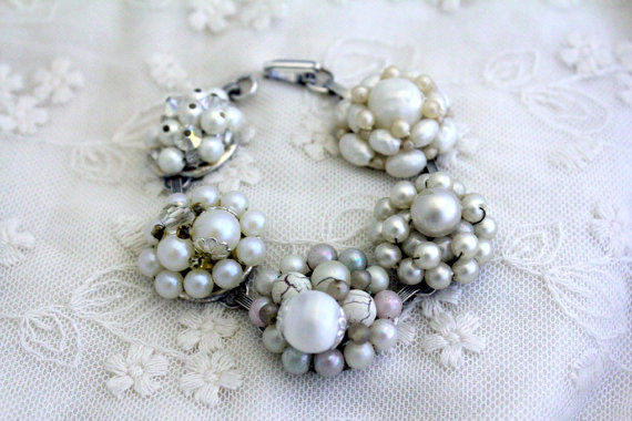 repurposed earrings cluster bracelet