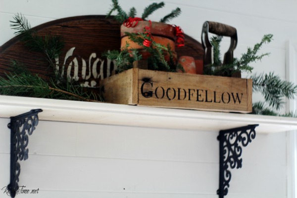 rustic crate filled with greenery for Christmas - KnickofTime.net