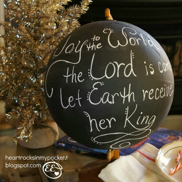 repurposed Chalkboard globe with Christmas Message