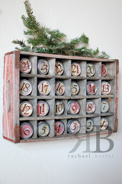 Turn an old soda crate and canning jar lids into a fun Advent calendar