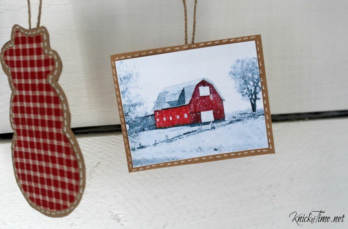 watercolor barn handmade Christmas ornament at the Welcome Home for Christmas Tour at KnickofTime - KnickofTime.net