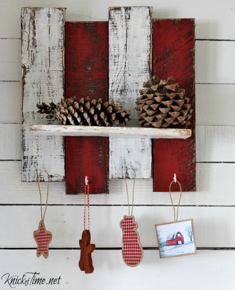 welcome home tour pallet wood Christmas shelf - KnickofTime.net