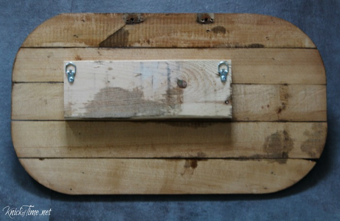 How to turn an old wooden basket lid into unique repurposed wall hooks! - KnickofTime.net