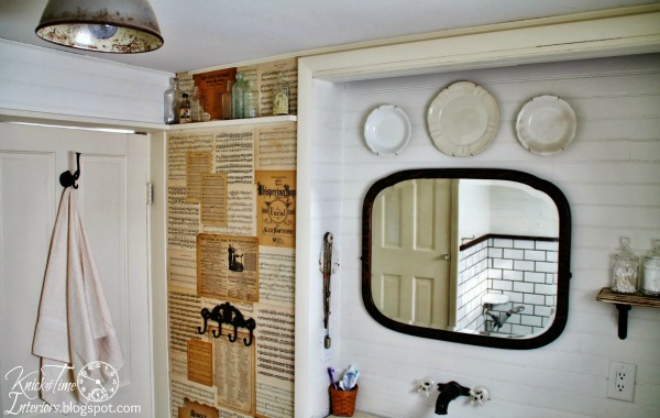 This farmhouse bathroom makeover cost very little money, but is light, bright and homey! See the before and after at KnickofTime.net