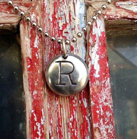 Stamped Initial Penny Necklace - featured at KnickofTime.net - Talk of the Town Link Party