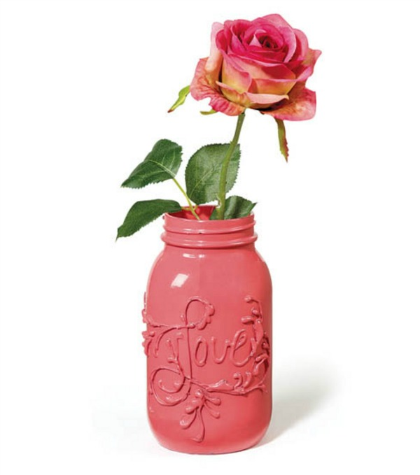pink Valentine mason jar with DIY message