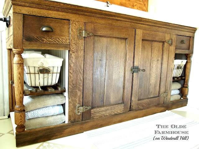 antique ice box bathroom vanity