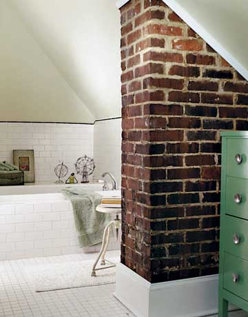 add a partial brick wall in the bathroom for a little industrial farmhouse style