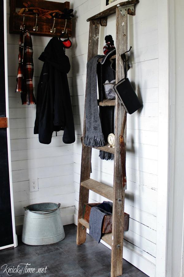 Repurposed ladder shelves in farmhouse entryway - KnickofTime.net