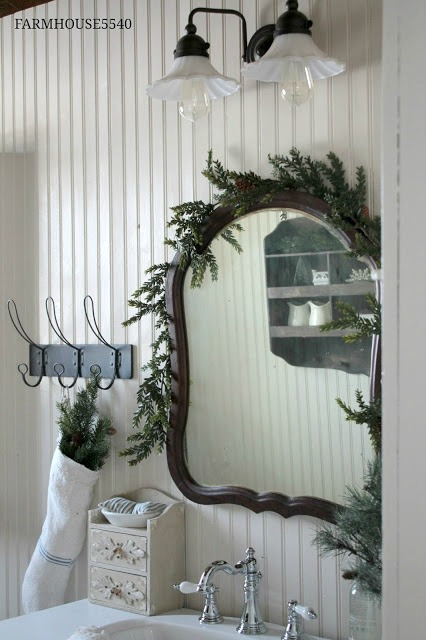 farmhouse bathroom Christmas
