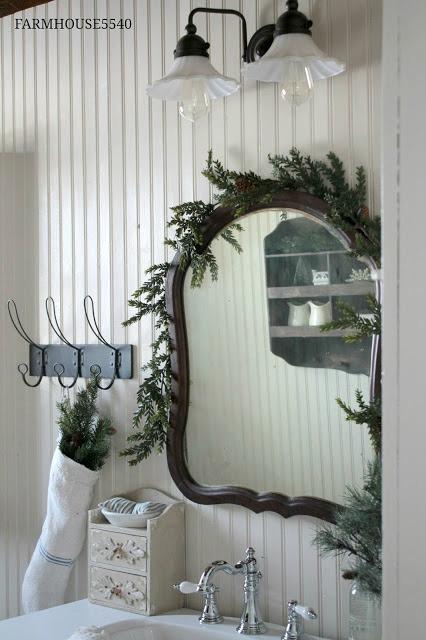 farmhouse bathroom Christmas