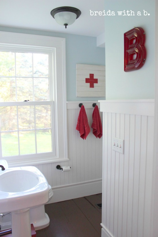 farmhouse bathroom red decor