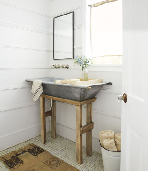 Farmhouse Style Bathroom Sink Image And Toaster