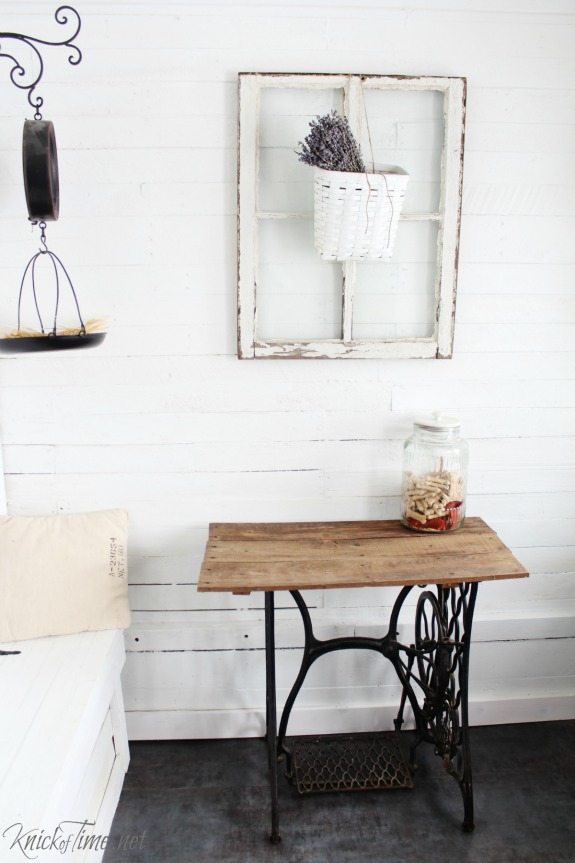 Repurposed antique window and sewing table in farmhouse entryway - KnickofTime.net
