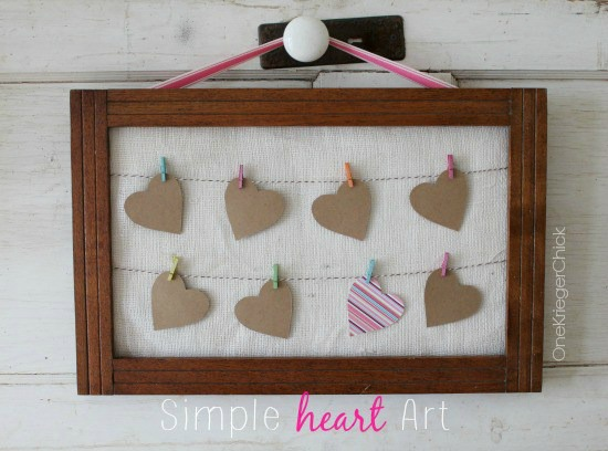 simple paper heart art on mini clothesline - featured at KnickofTime.net